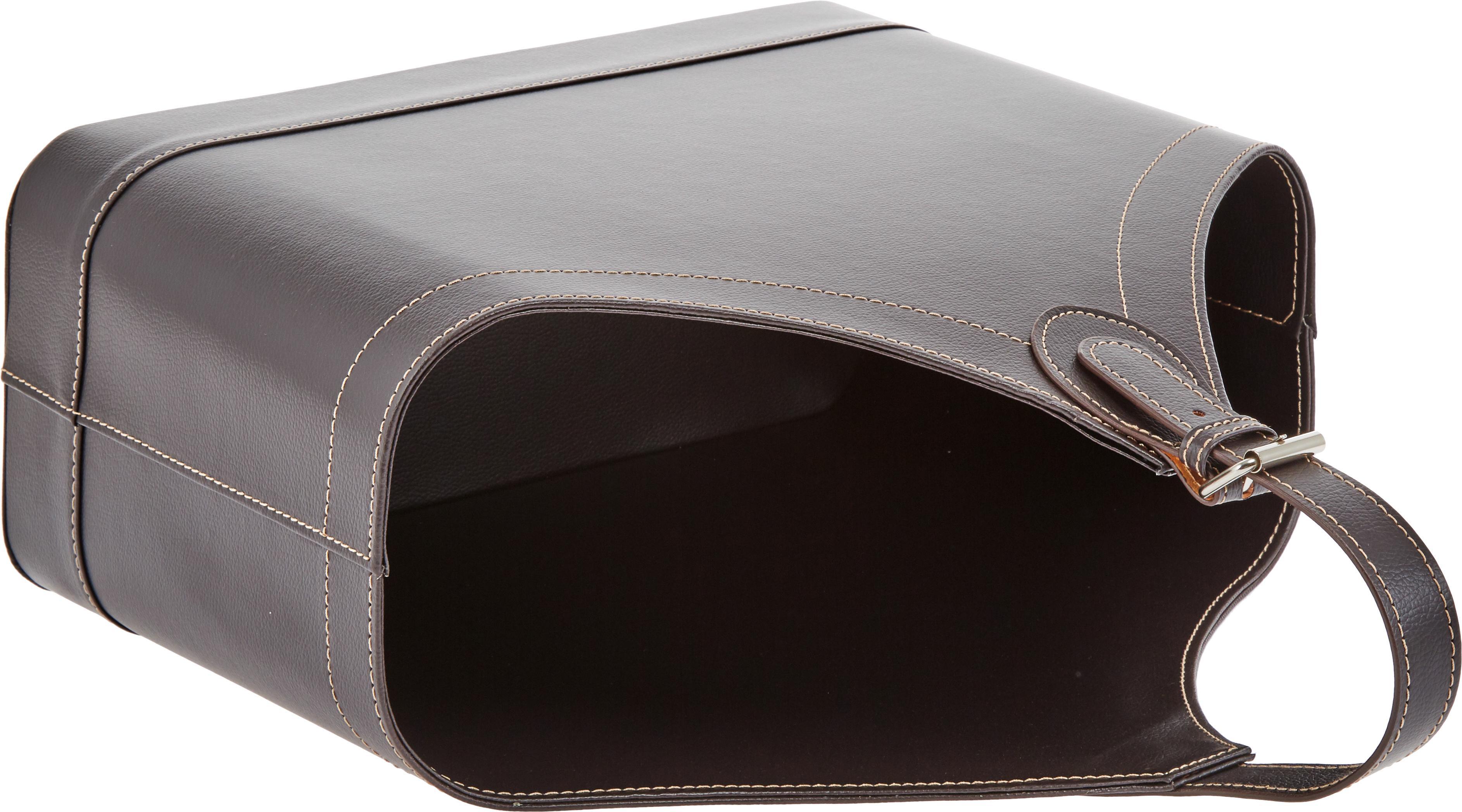 Zeitschriftenhalter Ready, Gestell: Karton, Bezug: Polyurethan, Verschluss: Metall, Zeitschriftenhalter: Braun<br>Nähte: Beige<br>Verschluss: Metall, 40 x 45 cm