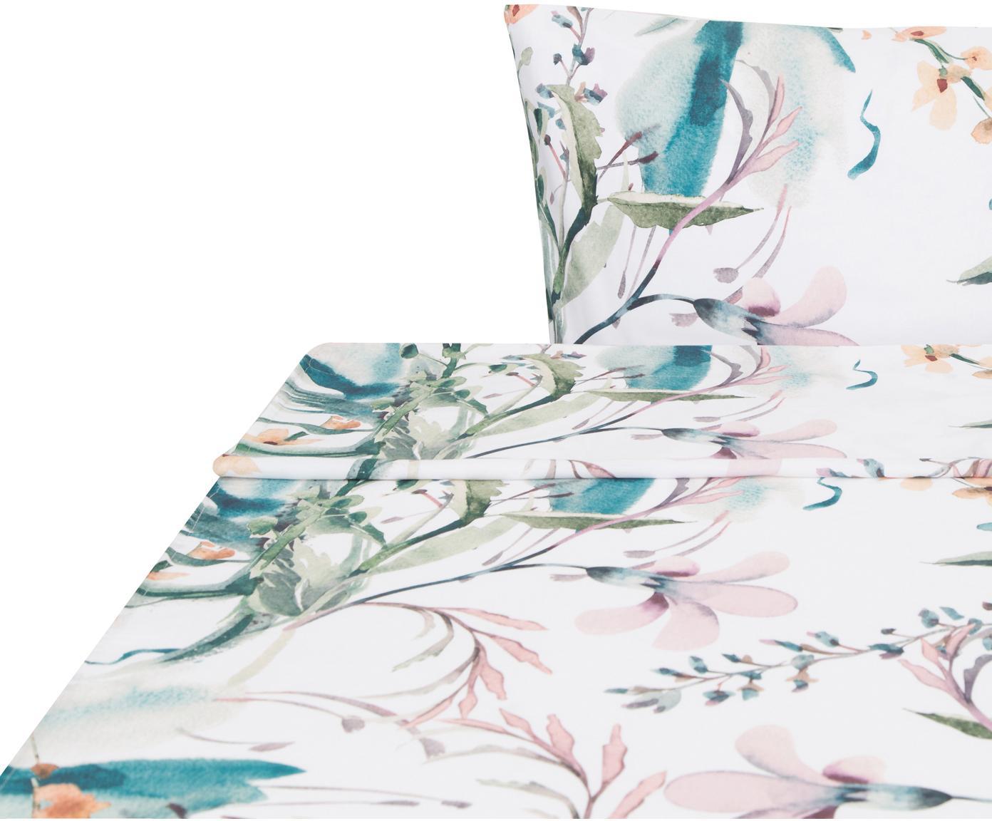 Sábana encimera de satén Casandra, Agodón satinado, Blanco, amarillo, tonos verdes, rosas y azules, Cama 90 cm (160 x 270 cm)