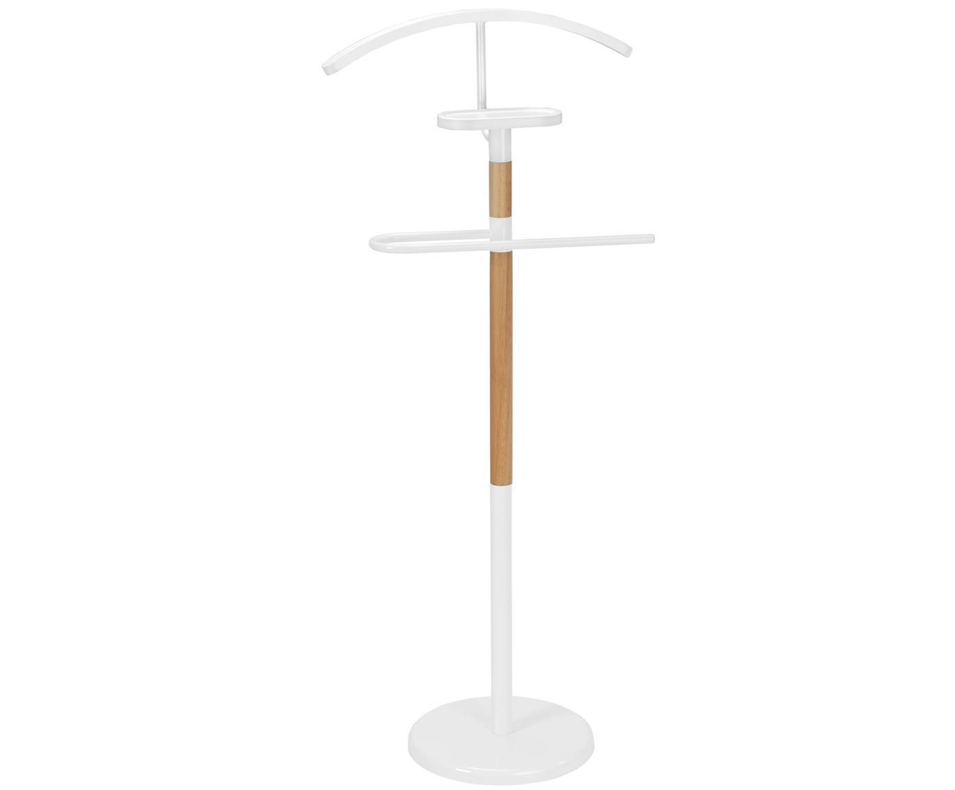 Wieszak stojący Esteban, Stal, drewno kauczukowe, Biały, brązowy, W 114 cm