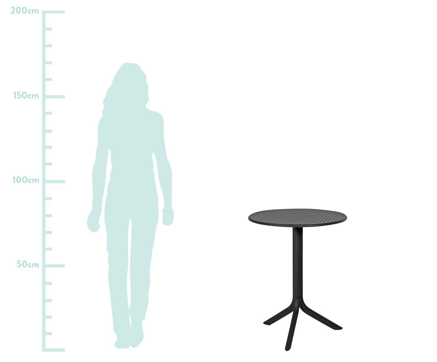 Okrągły stolik balkonowy z regulacją wysokości Step, Tworzywo sztuczne wzmocnione włóknem szklanym, Antracytowy, matowy, Ø 60 x W 75 cm