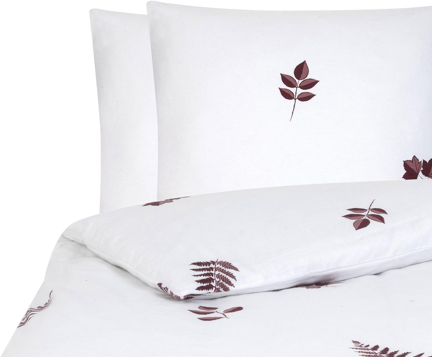 Flanell-Bettwäsche Fraser mit winterlichem Blattmuster, Webart: Flanell Flanell ist ein s, Bordeaux, Weiß, 200 x 200 cm + 2 Kissen 80 x 80 cm