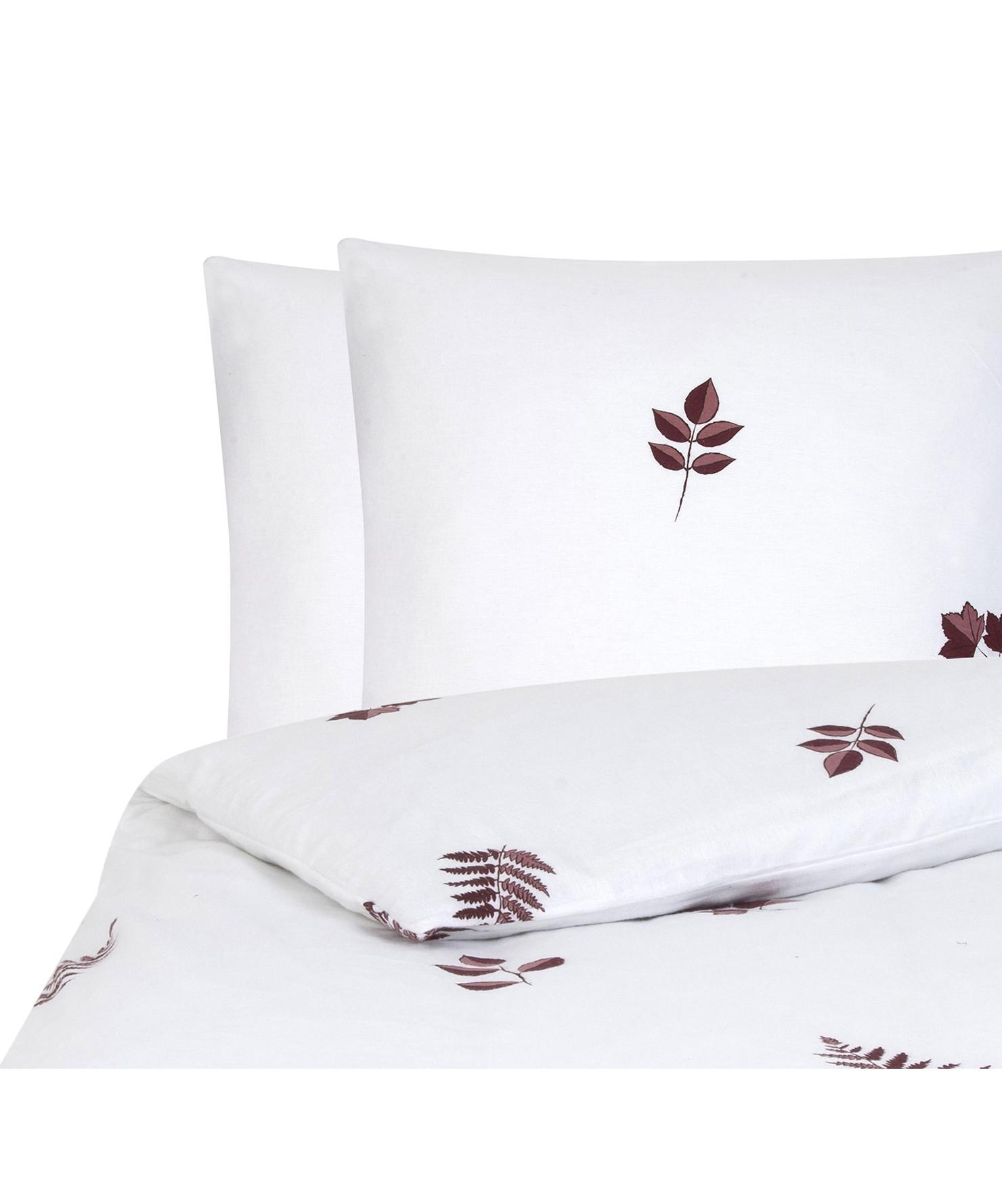 Pościel z flaneli Fraser, Bordowy, biały, 200 x 200 cm + 2 poduszki 80 x 80 cm