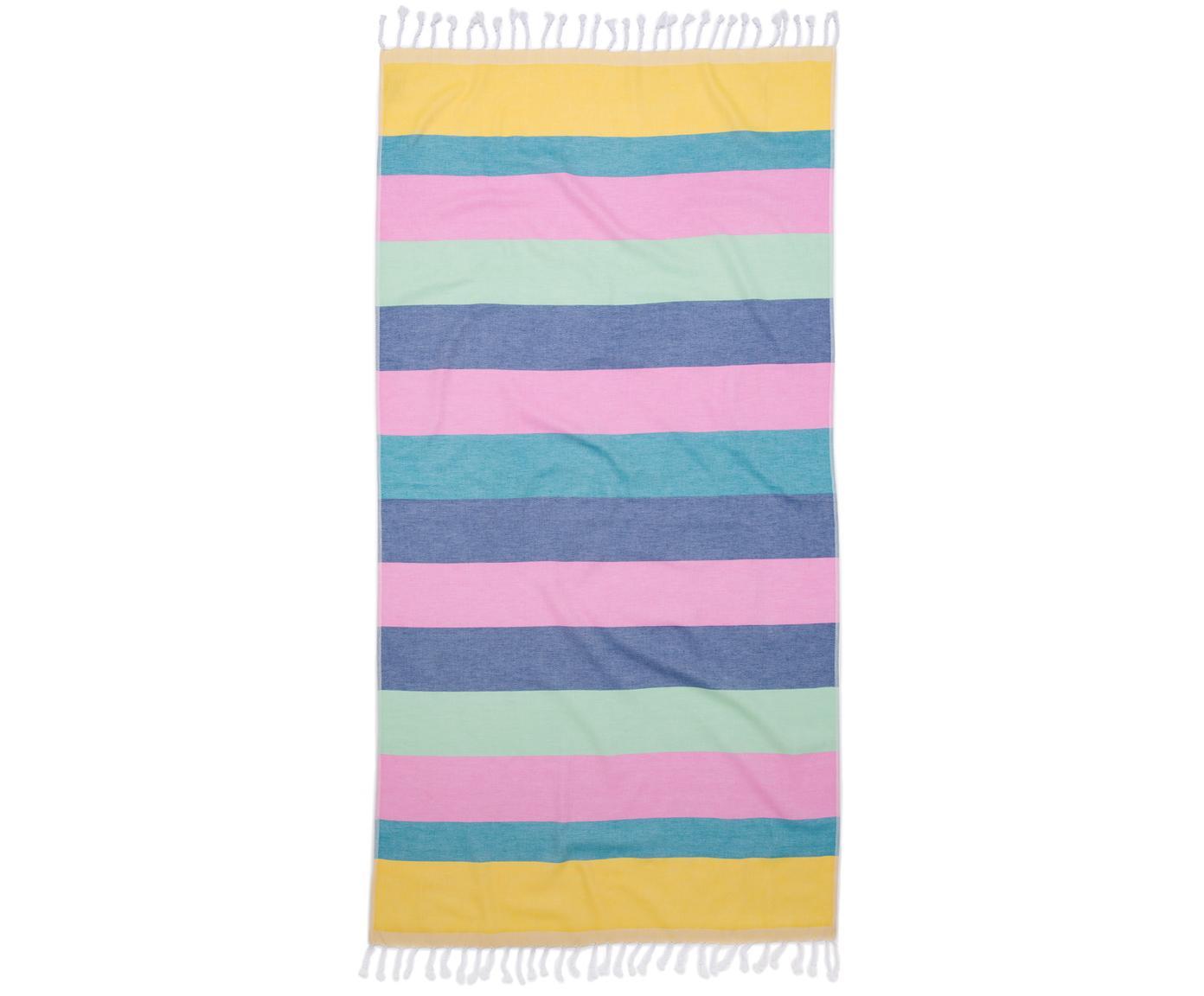 Fouta Holidays, Amarillo, azul, rosa, verde, violeta, An 90 x L 180 cm