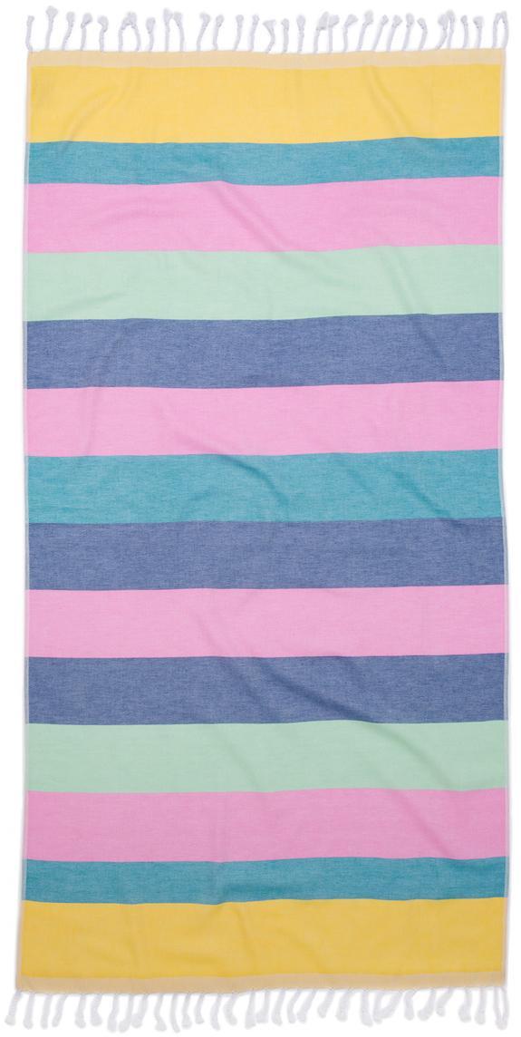 Fouta Holidays, Bawełna, niska gramatura, 210 g/m², Żółty, niebieski, różowy, zielony, fioletowy, S 90 x D 180 cm