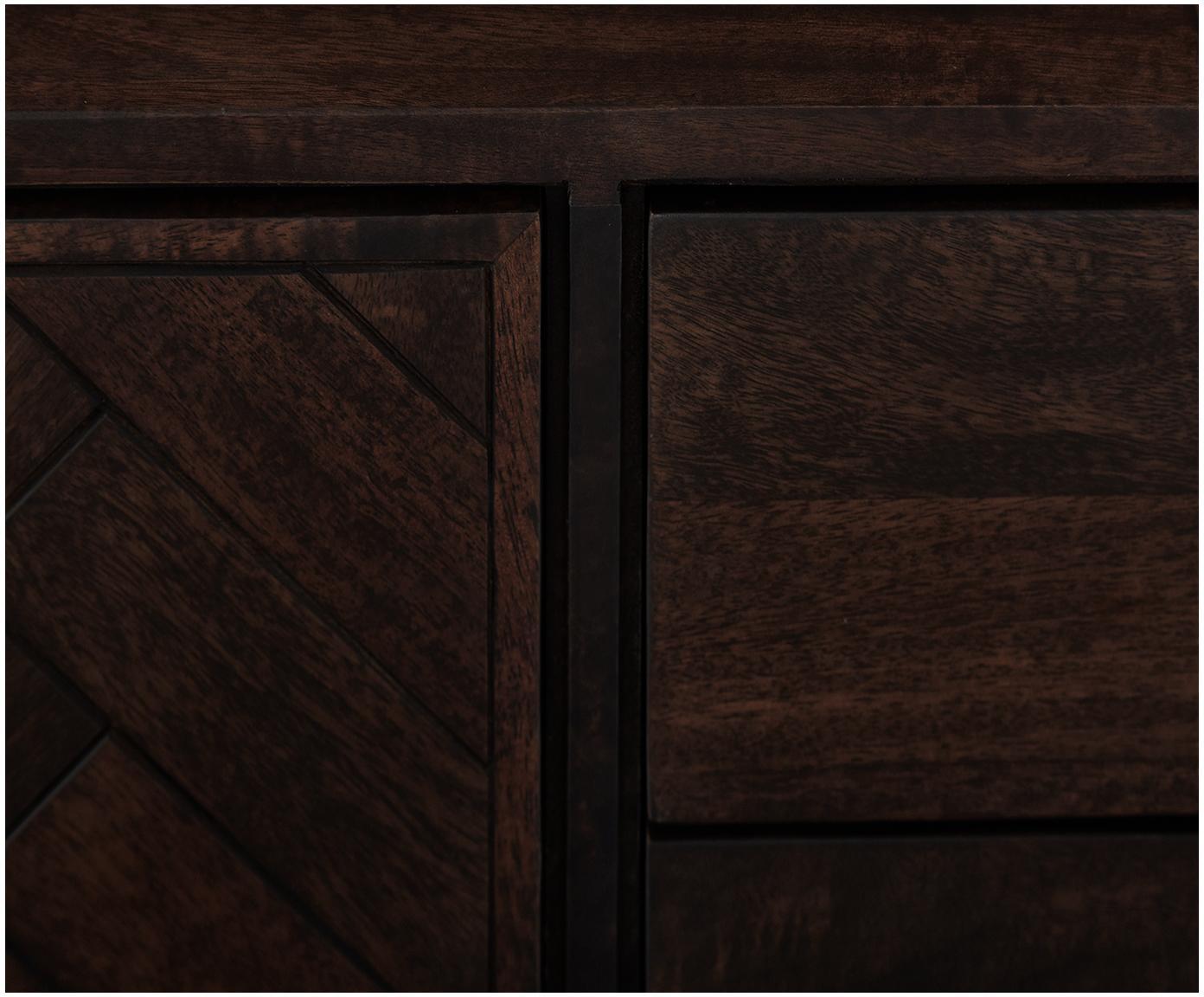 Szafka niska w jodełkę Luca, Korpus: lite drewno mangowe, Stelaż: metal powlekany, Ciemny brązowy, S 180 x W 54 cm