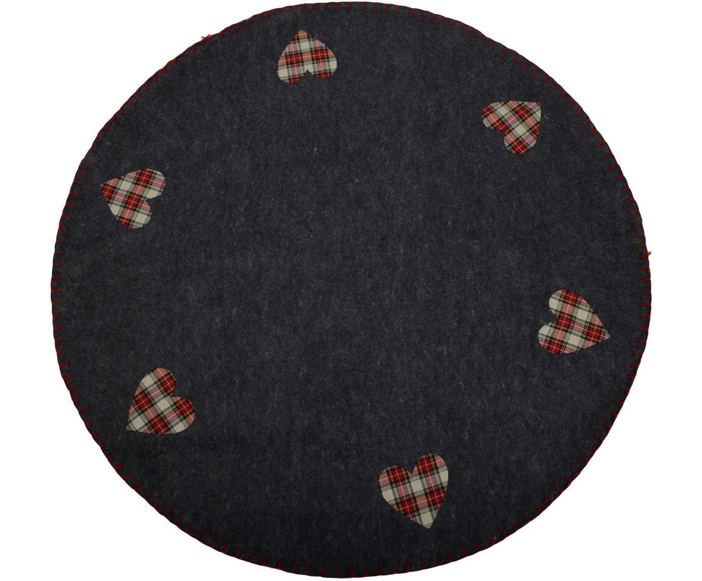 Sotto tappeto per albero di Natale Heart, Feltro, Grigio scuro, beige, rosso, Ø 100 cm