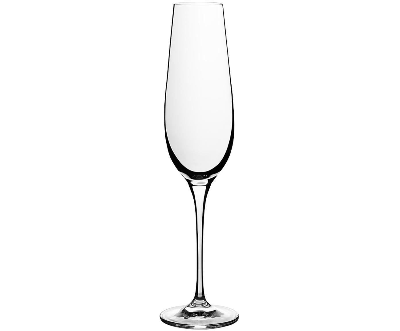 Sekt- und Champagnergläser Harmony aus glattem Kristallglas, 6er-Set, Edelster Glanz – das Kristallglas bricht einfallendes Licht besonders stark. So entsteht ein märchenhaftes Funkeln, das jede Champagnerverkostung zu einem ganz besonderen Erlebnis macht., Transparent, 200 ml