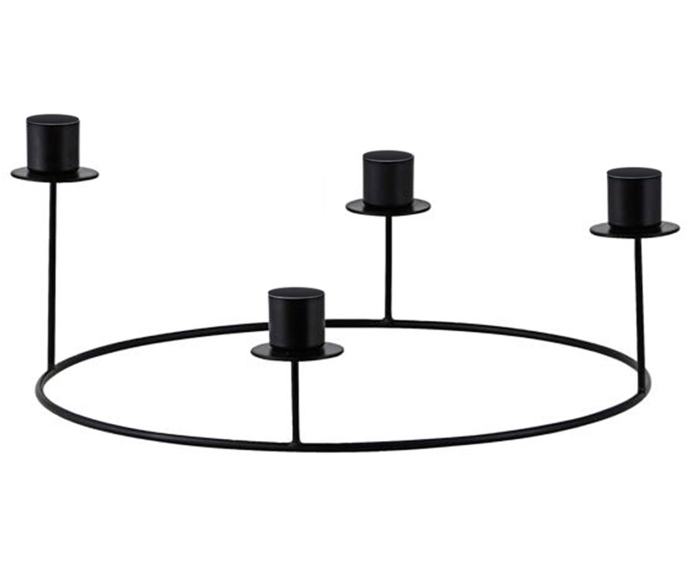 Kandelaar Stilu, Gecoat metaal, Zwart, Ø 27 x H 12 cm