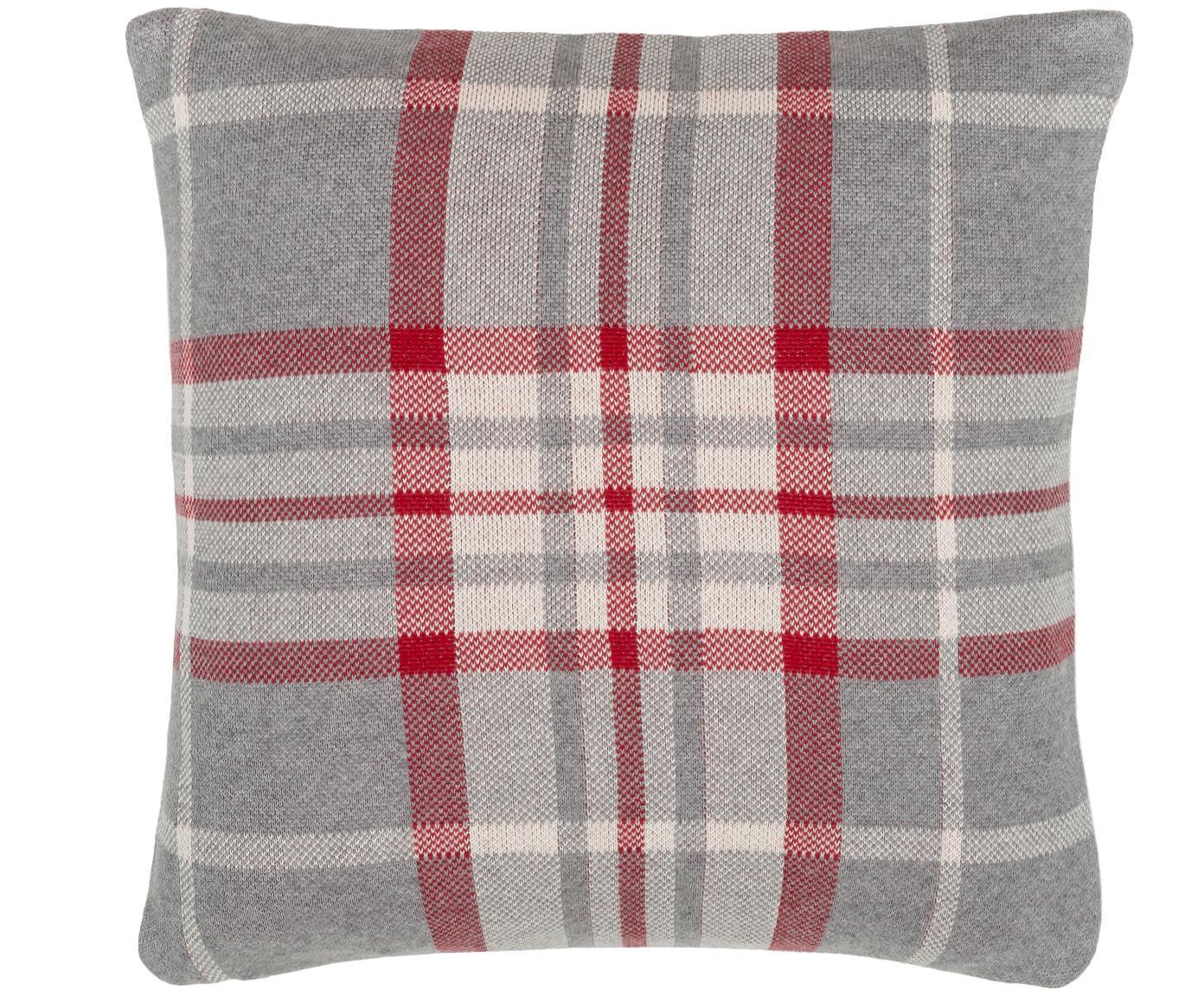 Federa arredo  fatta a maglia Louis, 100% cotone, Grigio, bianco, rosso, 40 x 40 cm