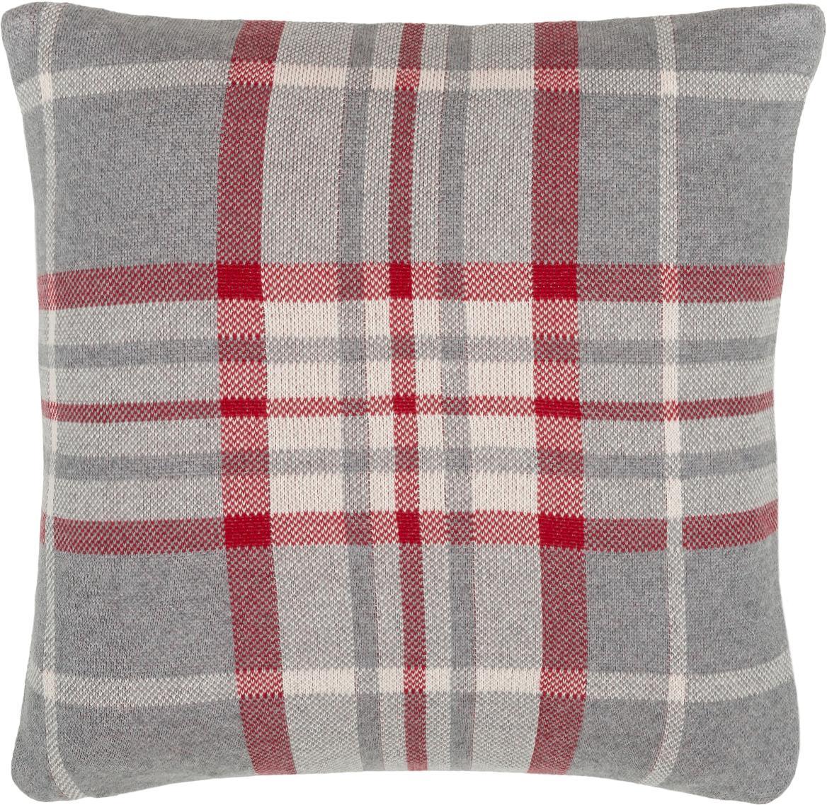 Karierte Strick-Kissenhülle Louis, Baumwolle, Grau, Weiß, Rot, 40 x 40 cm