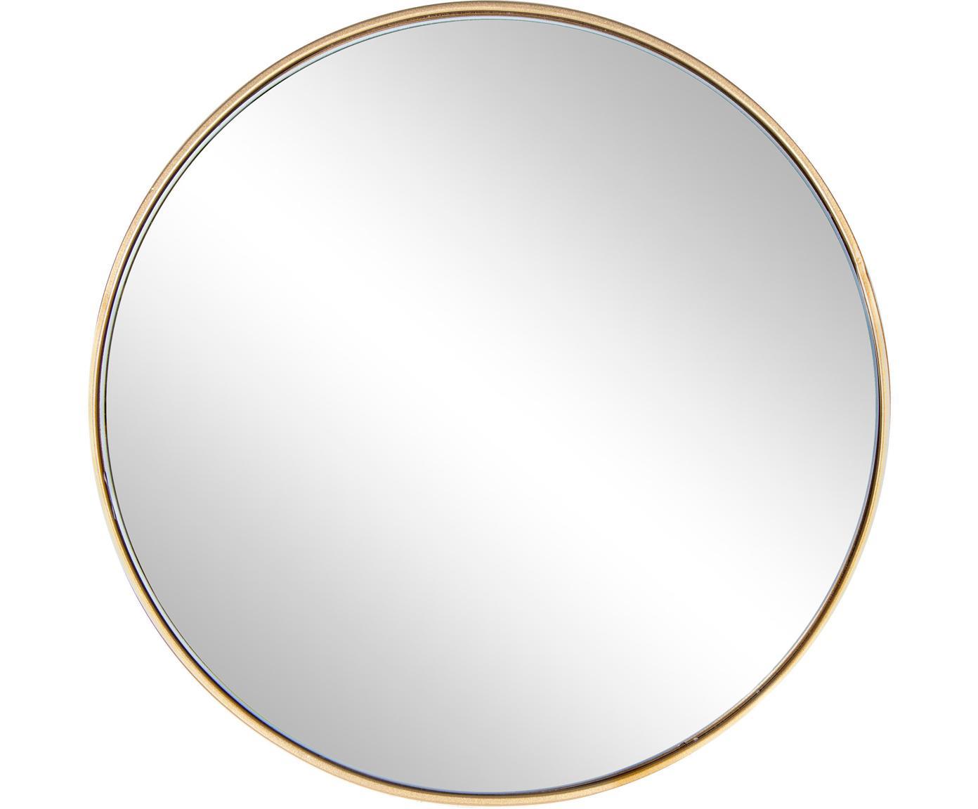 Ronde wandspiegel Nucleos met goudkleurige frame, Frame: gecoat metaal, Messingkleurig, Ø 60 cm
