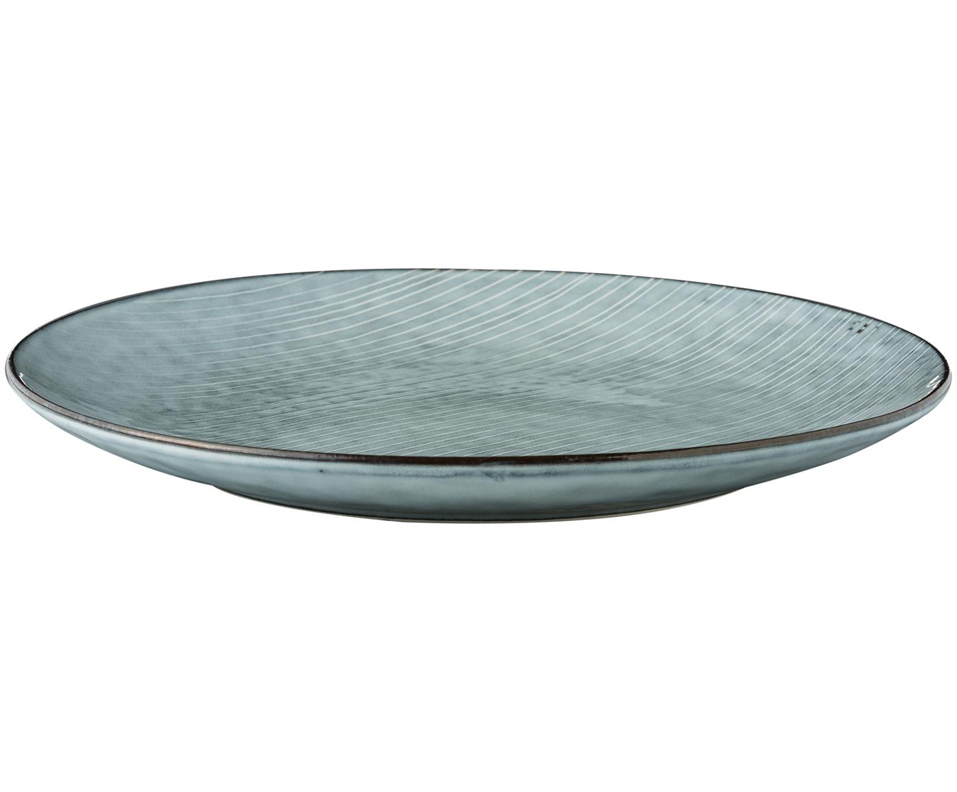 Handgemachte Platzteller Nordic Sea, 4 Stück, Steingut, Grau- und Blautöne, Ø 31 cm