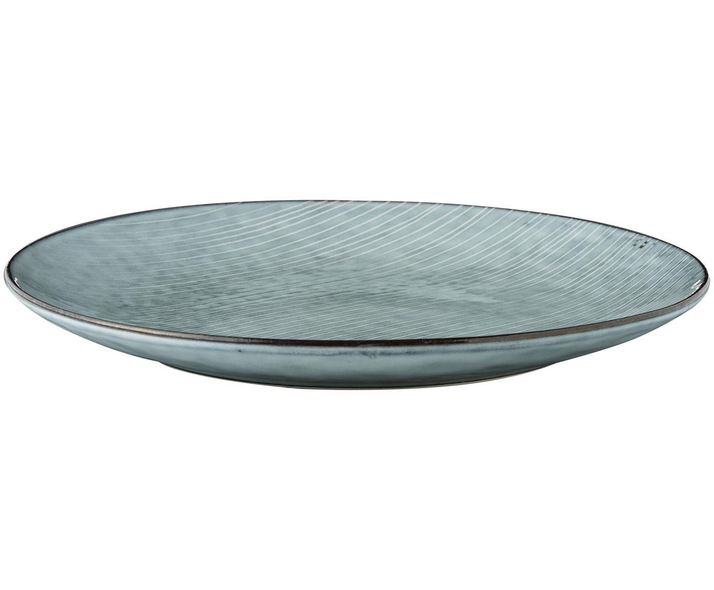 Sottopiatto fatto a mano Nordic Sea 4 pz, Gres, Tonalità grigie e blu, Ø 31 cm