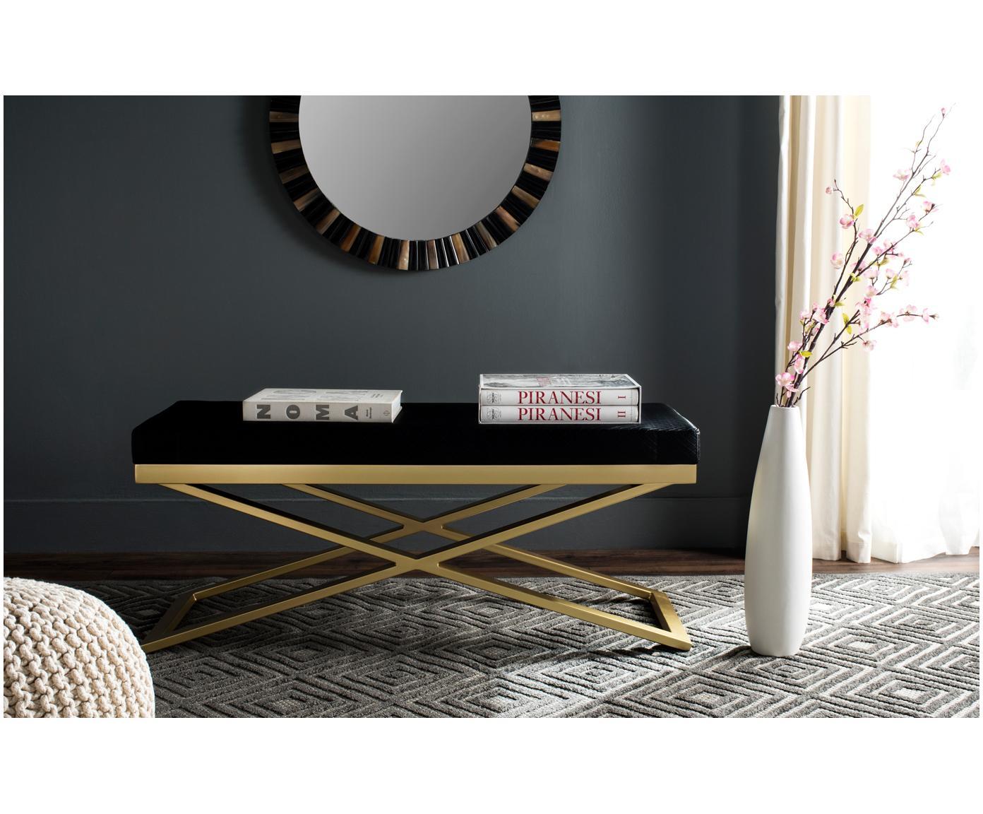 Bank Susan met kunstleer, Frame: gelakt staal, Bekleding: kunstleer (polyurethaan) , Zwart, goudkleurig, 109 x 46 cm