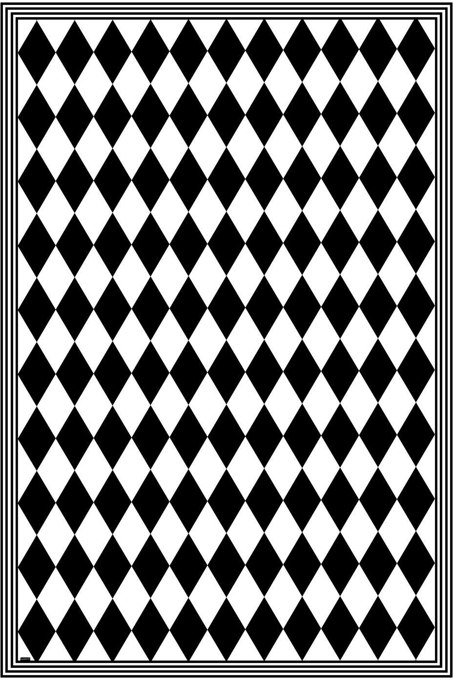 Vinyl-Bodenmatte Bobby II, Vinyl, recycelbar, Schwarz, Weiß, 135 x 200 cm
