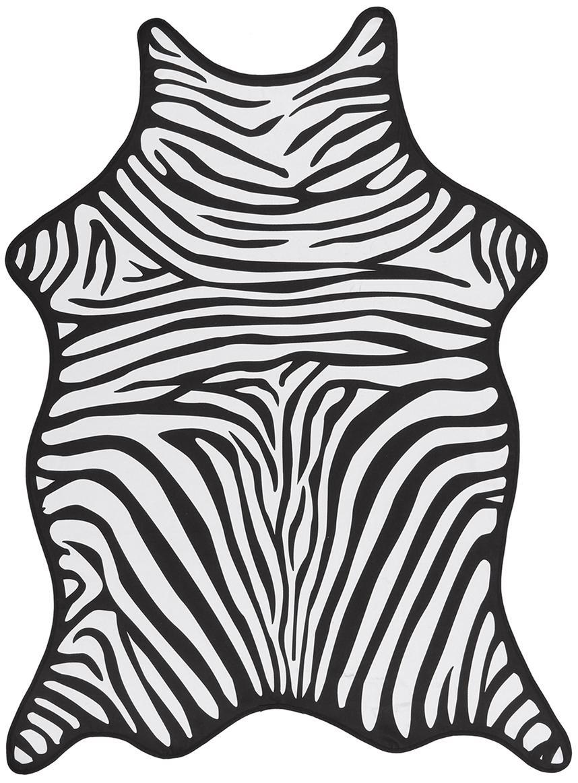 Telo mare con stampa zebra Wildhorse, 55% poliestere, 45% cotone Qualità molto leggera 340 g/m², Nero, bianco, Larg. 112 x Lung. 150 cm