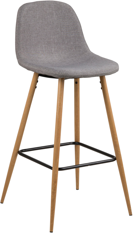 Sedia da bar Wilma, Gambe: metallo con decoro in que, Rivestimento: poliestere, Gambe: quercia, Poggiapiedi: nero, Rivestimento: grigio chiaro, Larg. 47 x Alt. 101 cm