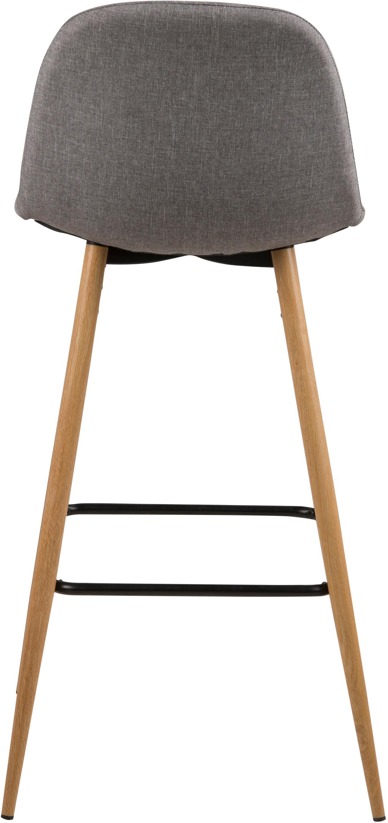 Barstuhl Wilma, Beine: Metall mit Eichedekor, Bezug: Polyester, Beine: Eiche<br>Streben: Schwarz<br>Bezug: Hellgrau, 47 x 101 cm