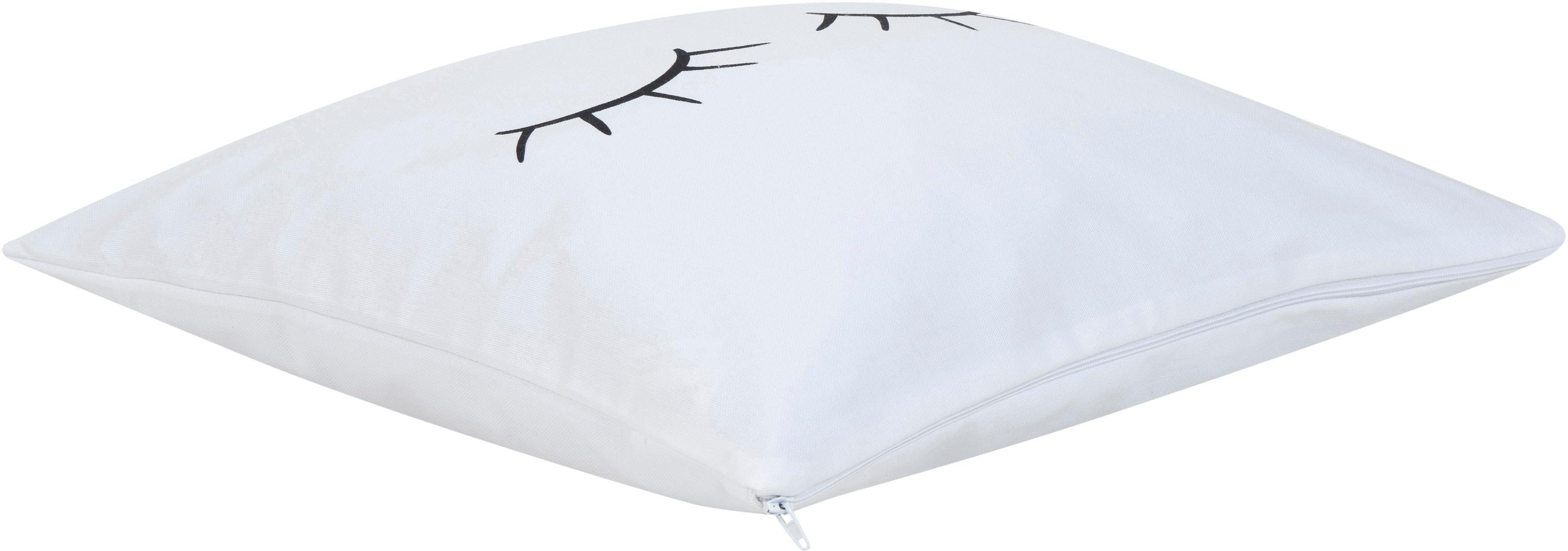 Kissenhülle Sleepy Eyes, Webart: Panama, Weiß, Schwarz, 40 x 40 cm