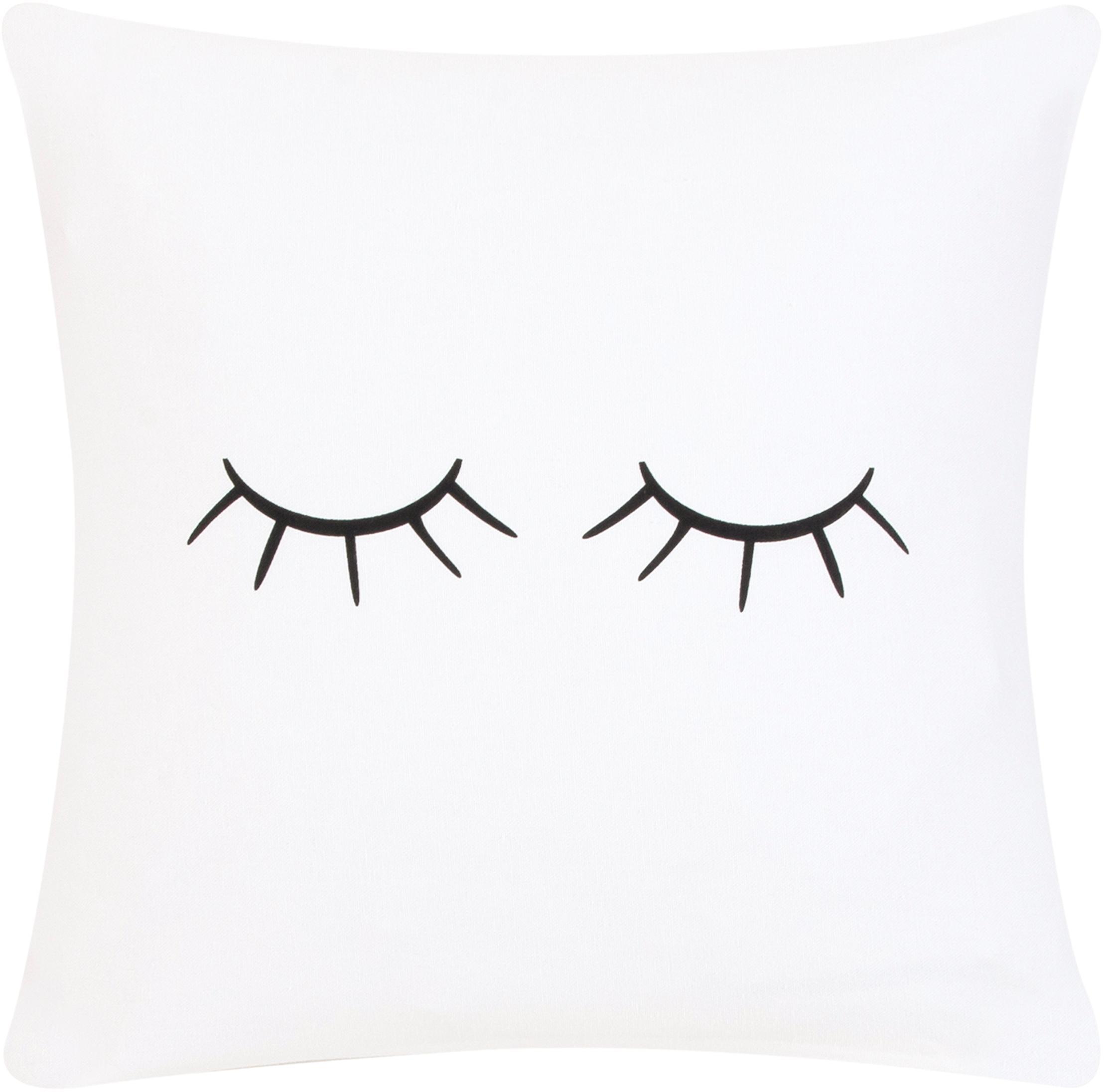 Federa arredo  Sleepy Eyes, Bianco, nero, Larg. 40 x Lung. 40 cm