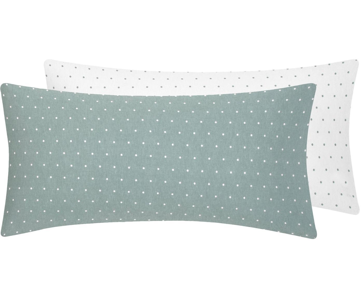 Flanell-Wendekissenbezüge Betty, gepunktet, 2 Stück, Webart: Flanell Fadendichte 144 T, Salbeigrün, Weiß, 40 x 80 cm