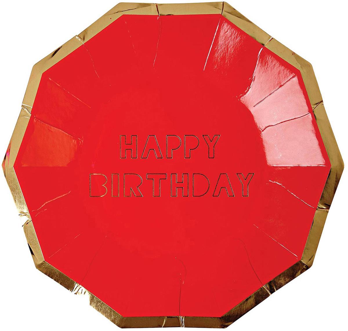 Papieren bordjes Happy Birthday, 16 stuks, Gecoat papier, Rood, goudkleurig, 19 x 19 cm