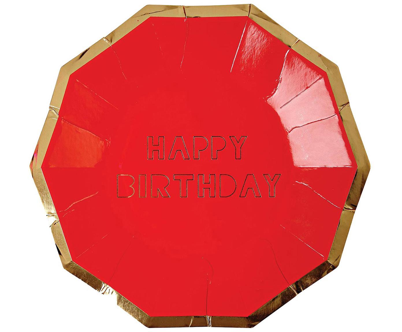 Papp-Teller Happy Birthday, 16 Stück, Papier, beschichtet, Rot, Goldfarben, 19 x 19 cm