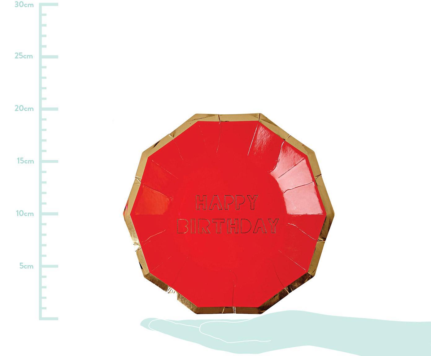 Talerz papierowy Happy Birthday, 16 szt., Papier powlekany, Czerwony, odcienie złotego, S 19 x W 19 cm