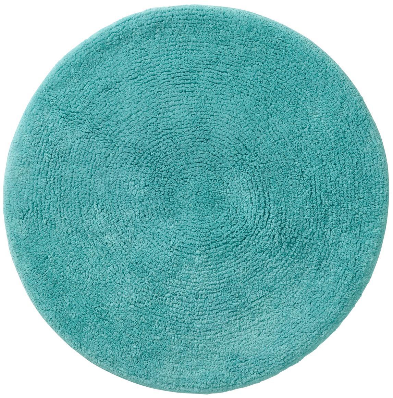 Tappeto bagno rotondo Emma, Cotone, Turchese, Ø 90 cm