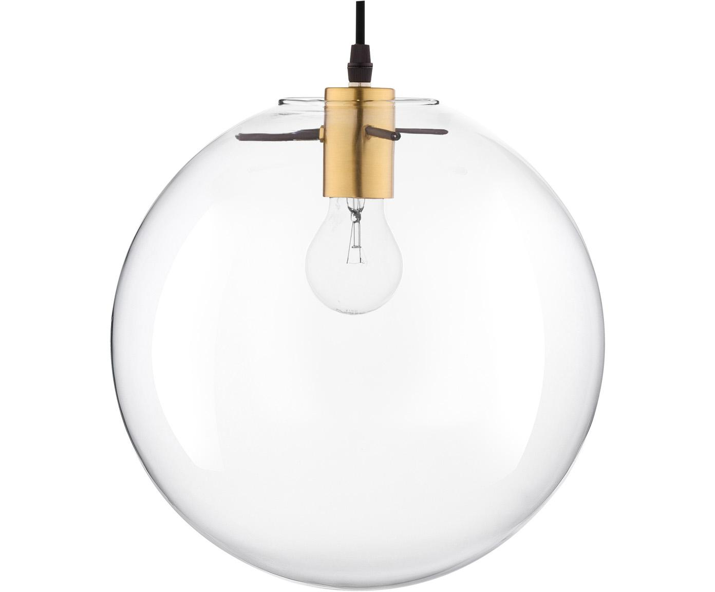 Hanglamp Mirale met glazen lampenkap, Lampenkap: glas, Baldakijn: kunststof, Messingkleurig, transparant, Ø 25 x H 25 cm