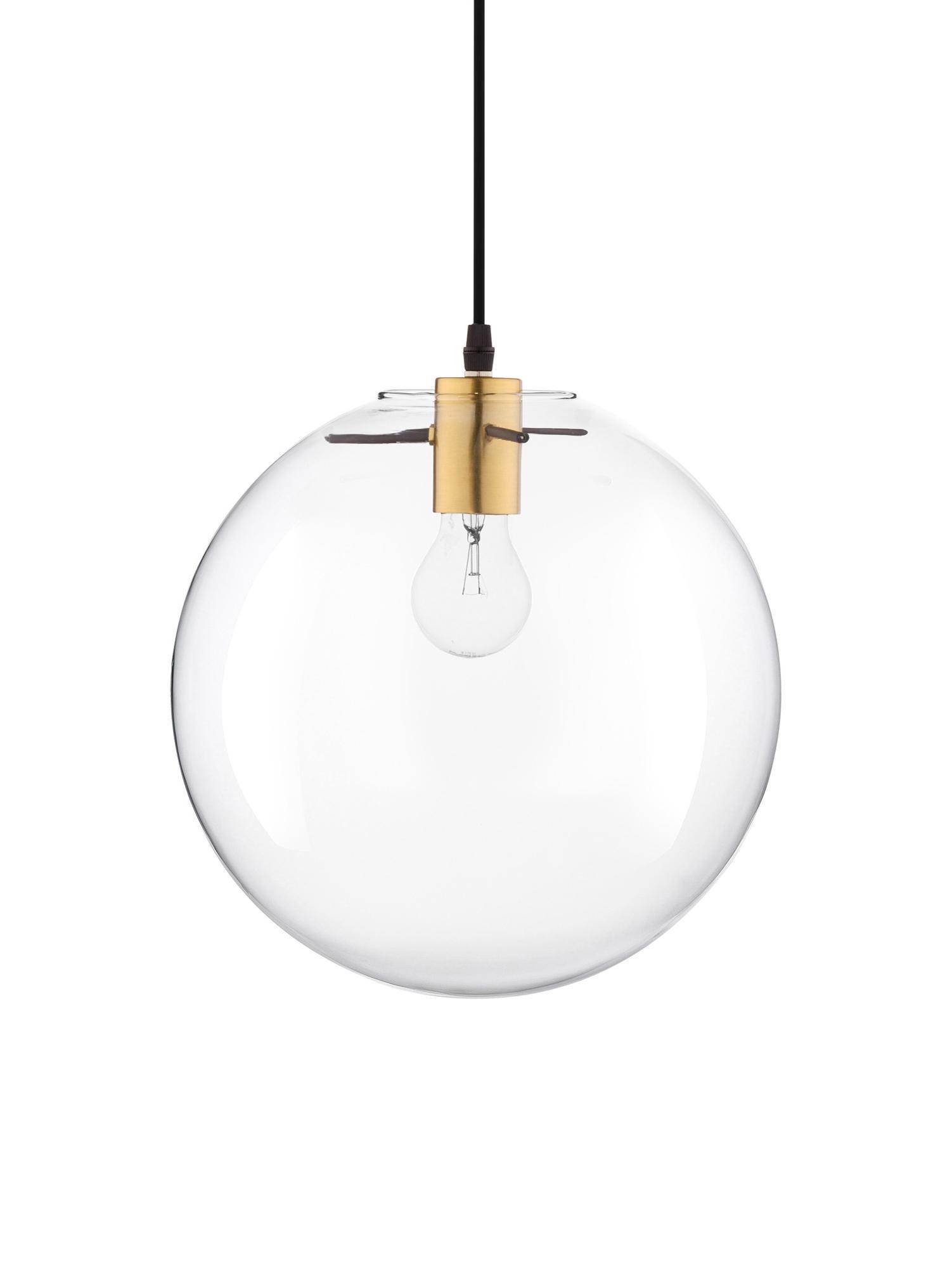 Hanglamp Mirale met glazen lampenkap, Lampenkap: glas, Baldakijn: kunststof, Messingkleurig, transparant, Ø 25 x H 26 cm