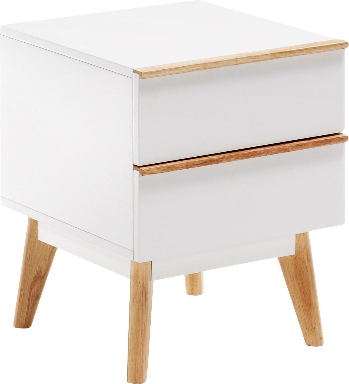 Comodino con cassetto Melan, Bianco, legno di quercia, Larg. 40 x Alt. 50 cm