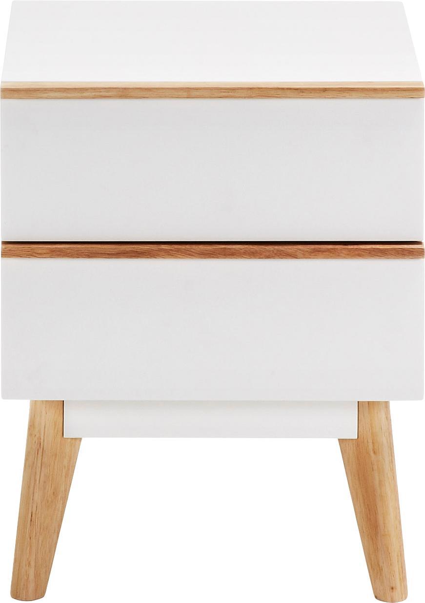 Nachttisch Melan mit Schublade, Korpus: Mitteldichte Holzfaserpla, Weiß, Eichenholz, 40 x 50 cm