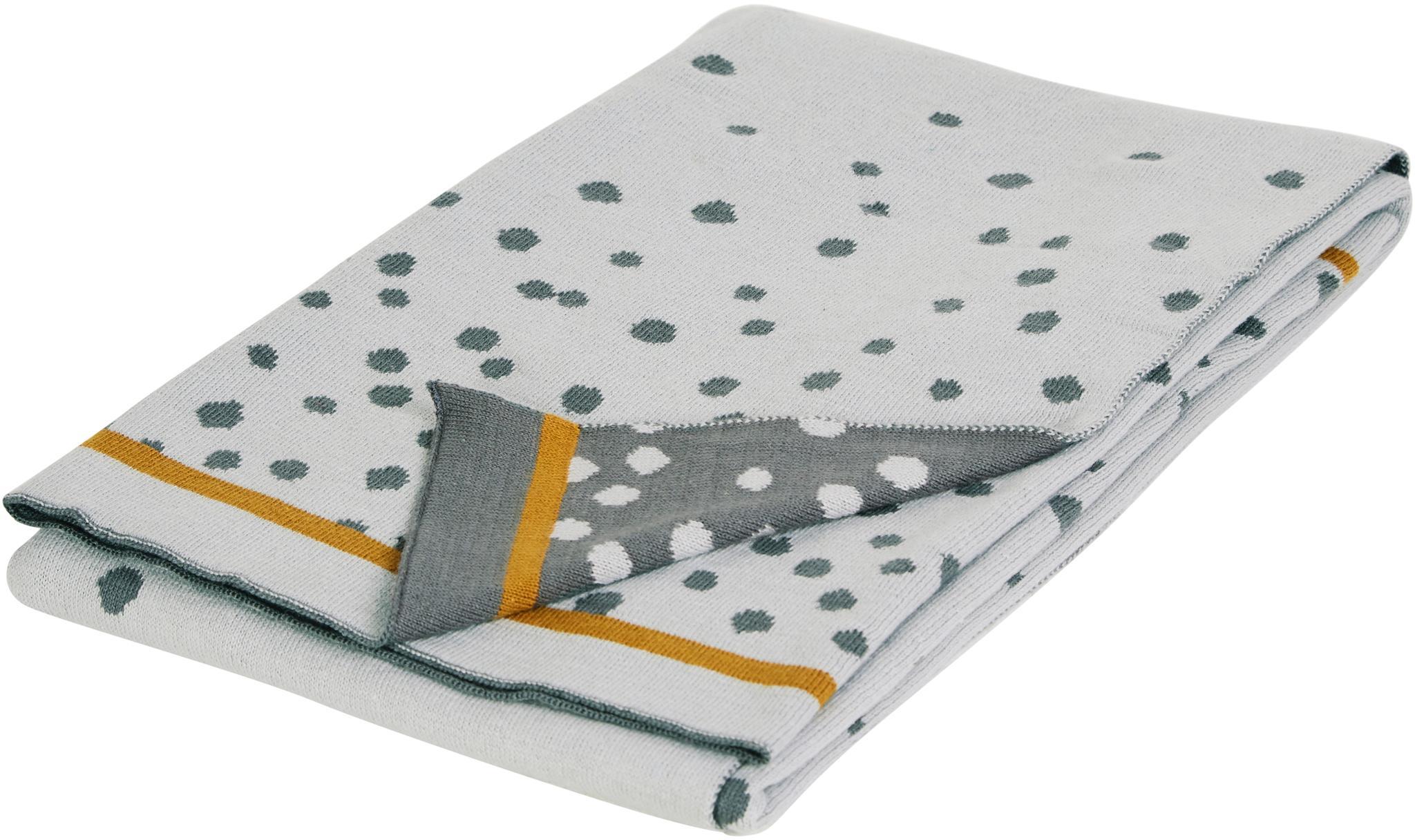 Koc dzianinowy Happy Dots, Szary, S 80 x D 100 cm