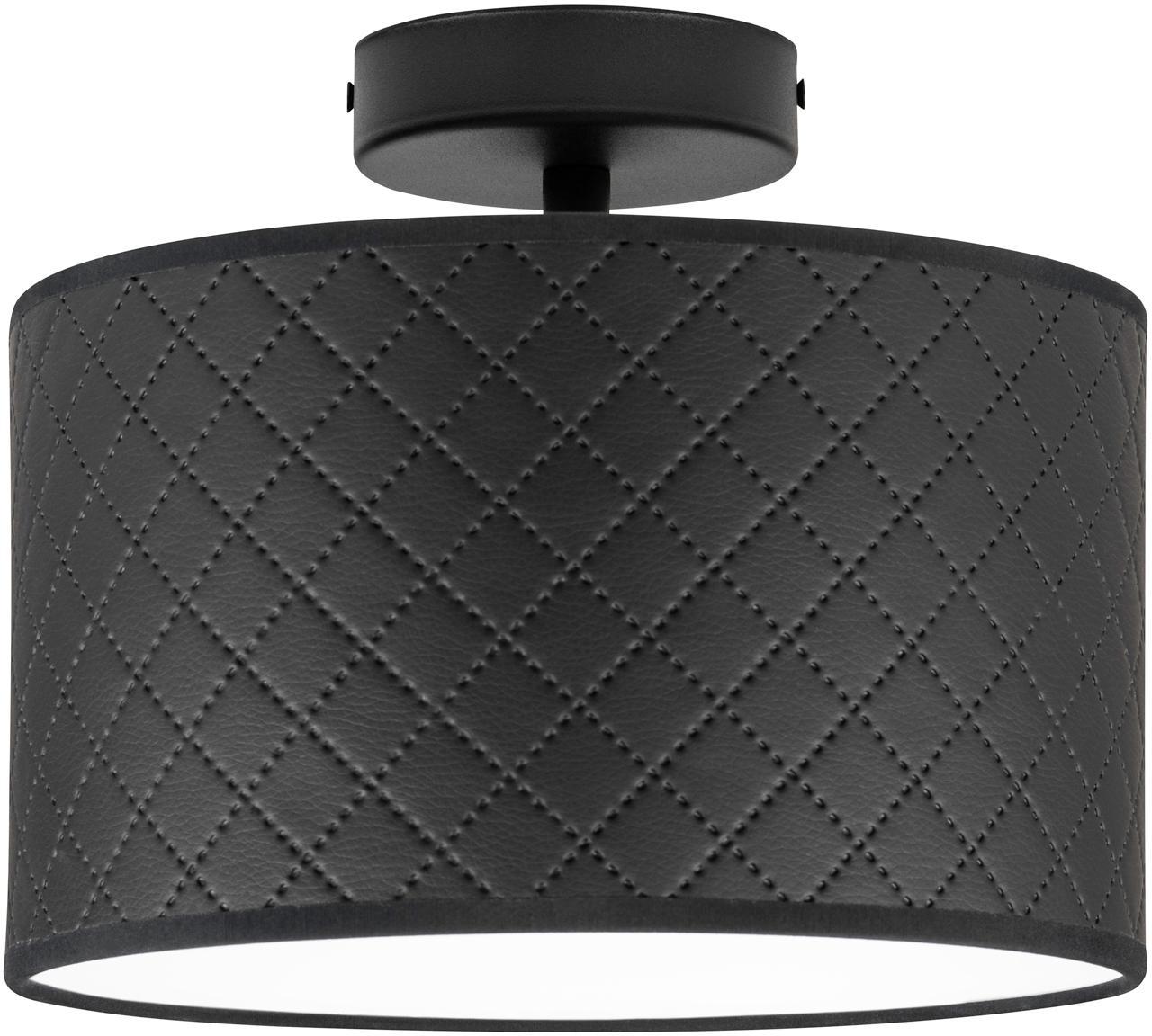 Lampa sufitowa ze skóry Trece, Czarny, Ø 25 x W 20 cm