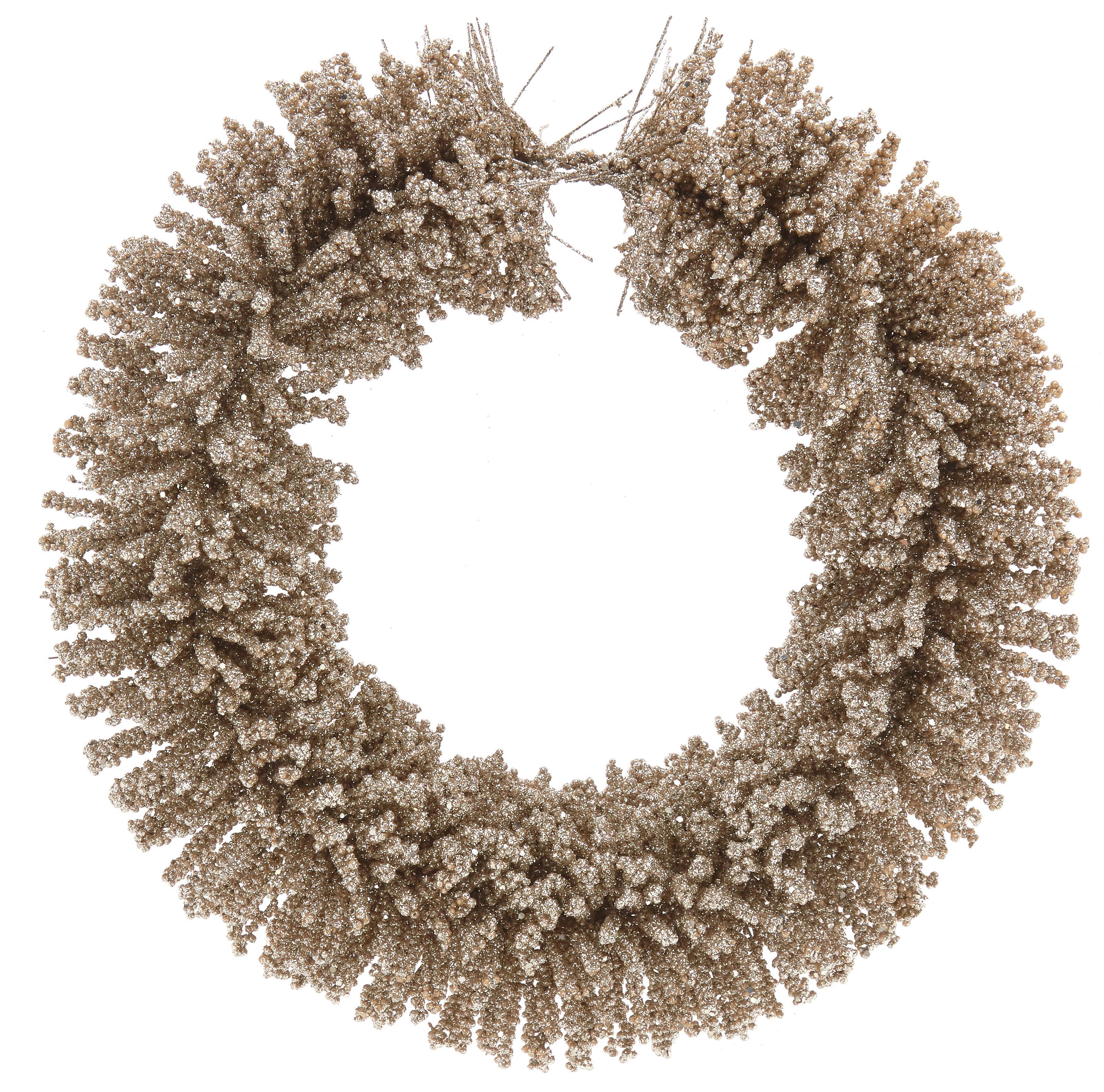 Corona navideña Falina, Plástico, Champán, Ø 40 x Al 10 cm