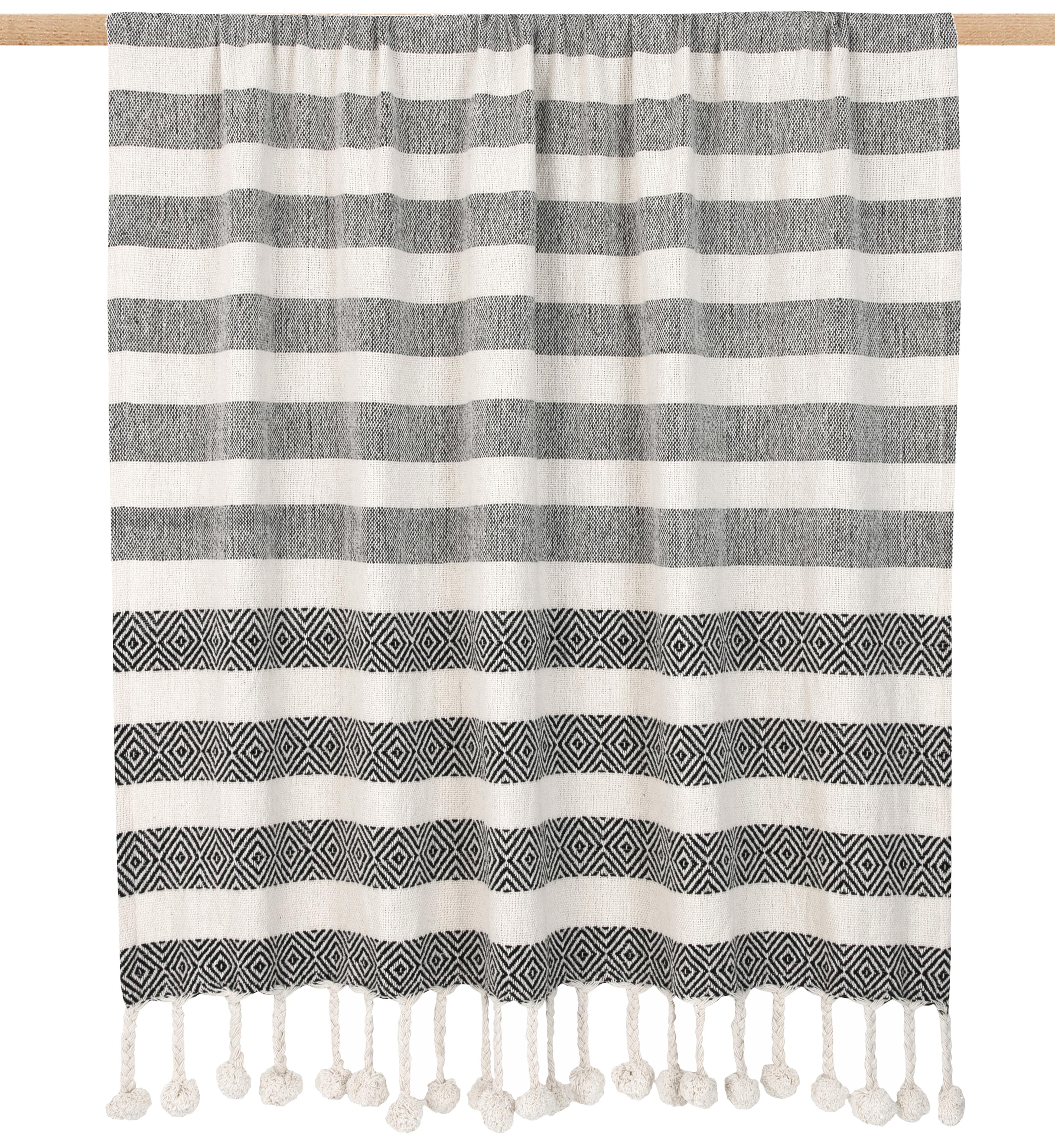 Plaid Maggie mit Pompoms, 100% Baumwolle, Schwarz, Beige, 130 x 170 cm