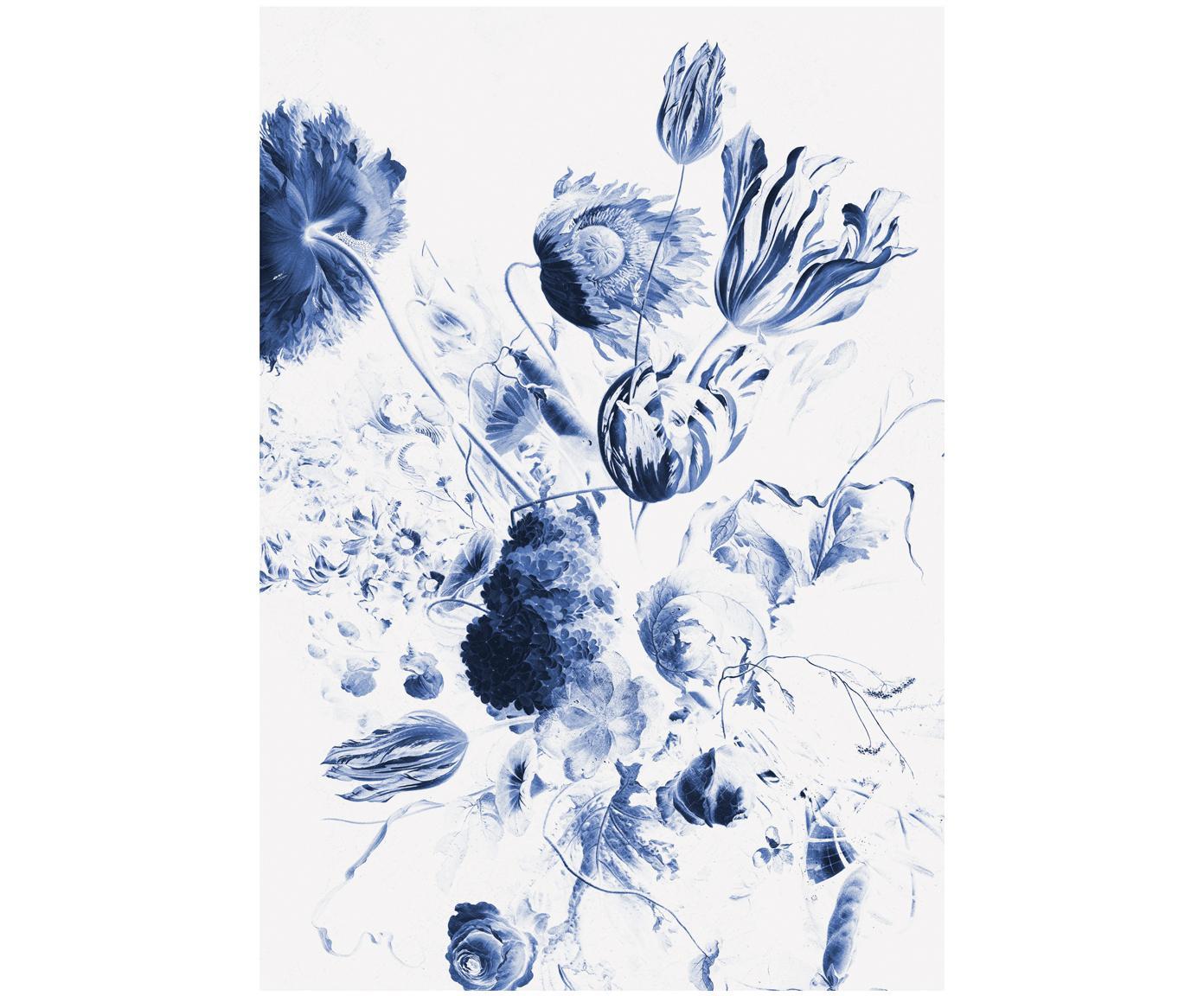 Fotobehang Royal Blue Flowers, Vlies, milieuvriendelijk en biologisch afbreekbaar, Blauw, mat wit, 196 x 280 cm