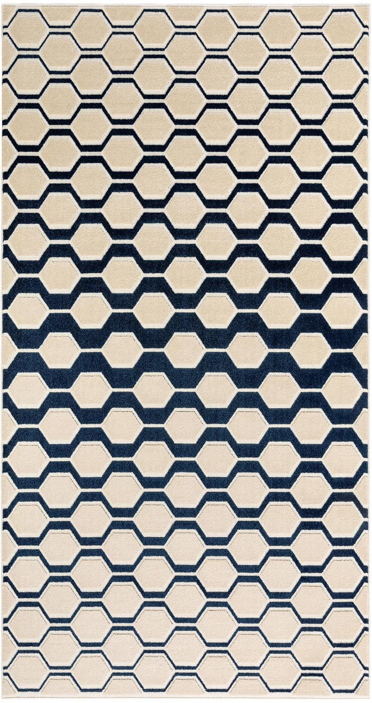 Teppich Diamond Key mit Hoch-Tief-Effekt in Dunkelblau-Beige, Flor: Polypropylen, Dunkelblau, Beige, B 80 x L 150 cm (Größe XS)