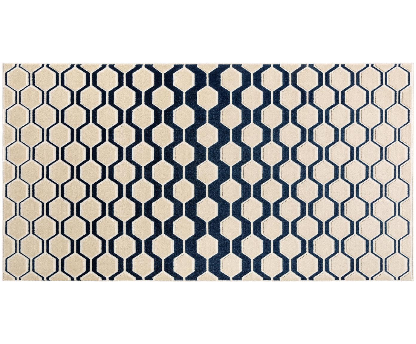 Dywan Diamond Key, Ciemny niebieski, beżowy, S 80 x D 150 cm (Rozmiar XS)