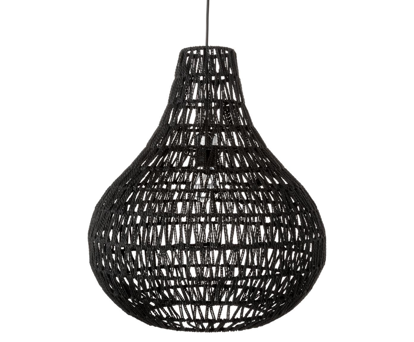 Lámpara de techo de papel Cable Drop, Metal, tela, Negro, Ø 45 x Al 51 cm