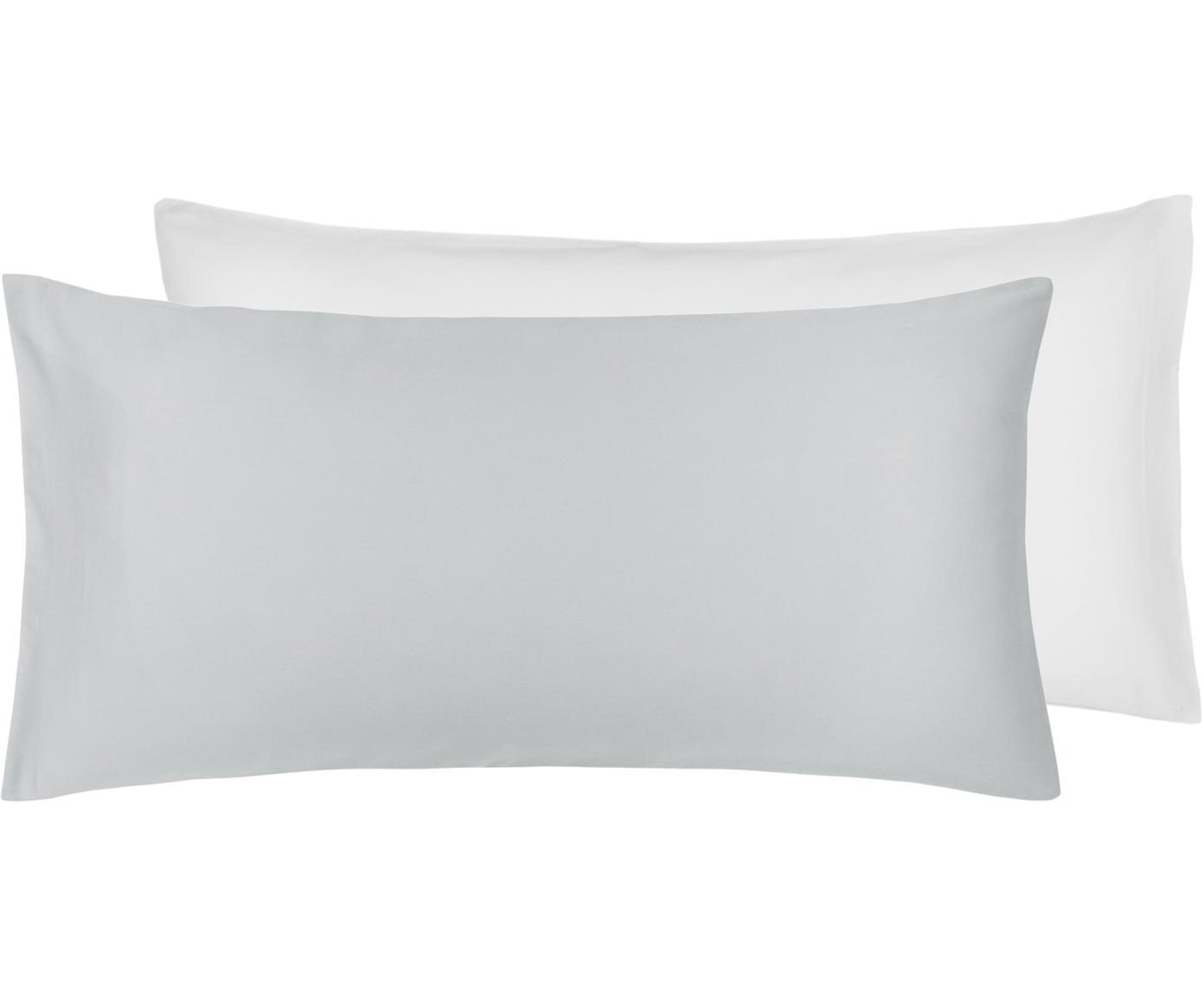 Baumwollsatin-Wendekissenbezüge Julia in Weiß/Grau, 2 Stück, Webart: Satin Fadendichte 250 TC,, Weiß, Hellgrau, 40 x 80 cm