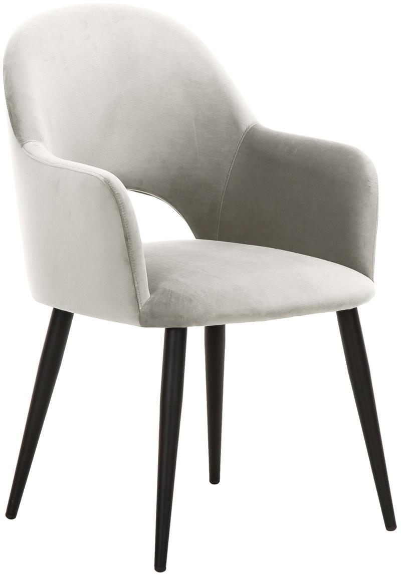 Sedia con braccioli in velluto Rachel, Rivestimento: velluto (poliestere) 50.0, Gambe: metallo verniciato a polv, Rivestimento: beige Gambe: nero opaco, Larg. 47 x Prof. 64 cm