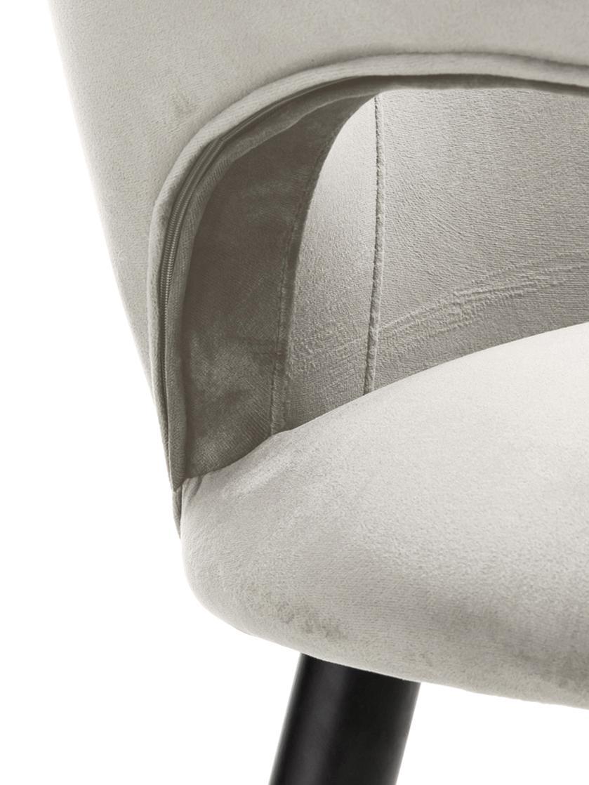 Fluwelen armleunstoel Rachel, Bekleding: fluweel (polyester) De be, Poten: gepoedercoat metaal, Fluweel beige, B 47 x D 64 cm
