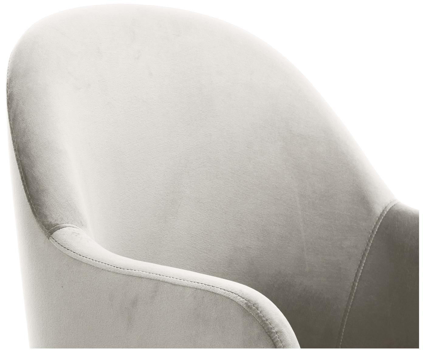Samt-Armlehnstuhl Rachel, Bezug: Samt (Polyester) 50.000 S, Beine: Metall, pulverbeschichtet, Samt Beige, B 47 x T 64 cm