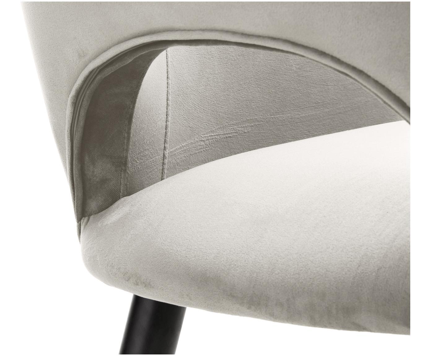 Krzesło z podłokietnikami z aksamitu Rachel, Tapicerka: aksamit (poliester) 5000, Nogi: metal malowany proszkowo, Aksamitny beżowy, S 47 x G 64 cm