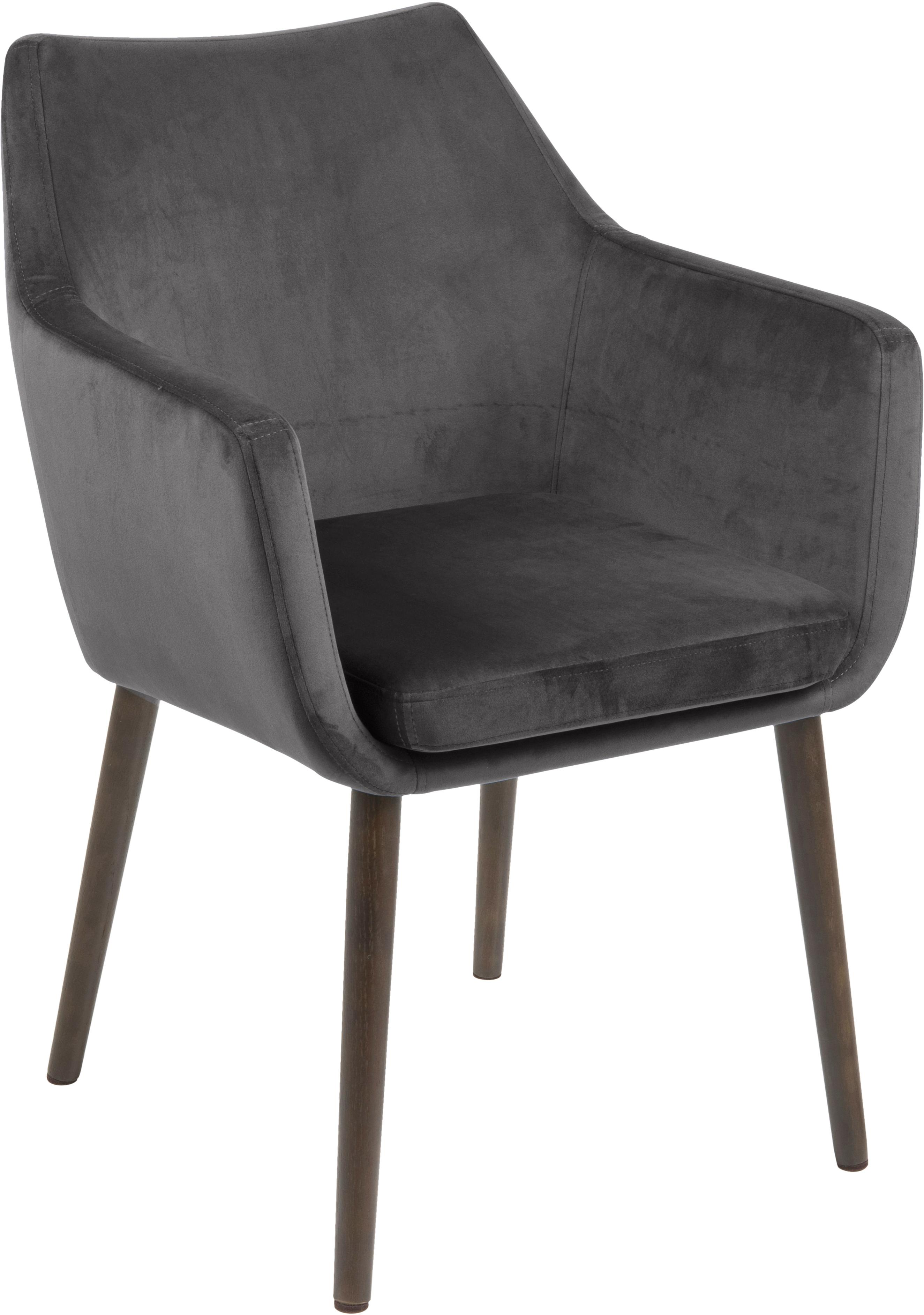 Sedia con braccioli in velluto Nora, Rivestimento: poliestere (velluto), Gambe: legno di quercia, vernici, Grigio scuro, Larg. 58 x Alt. 84 cm