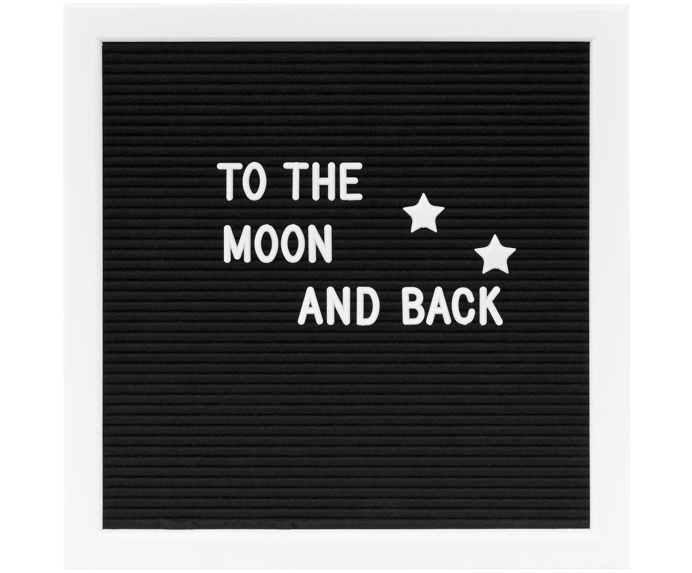 Bacheca con cornice in legno Message, Cornice: pannelli di fibra a media, Nero, bianco, Larg. 30 x Alt. 30 cm