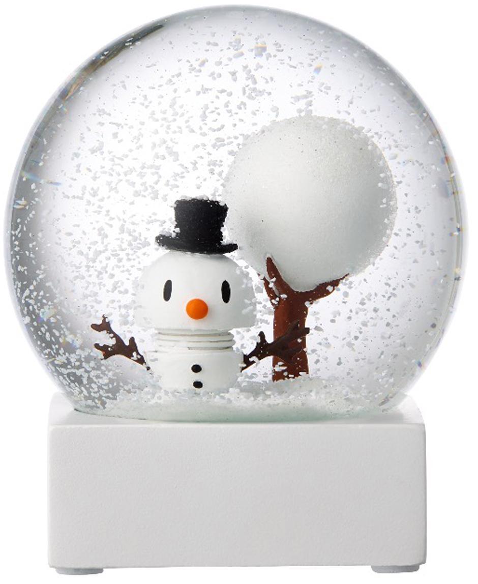 Bola de nieve Snowman, Blanco, transparente, Ø 10 x Al 12 cm