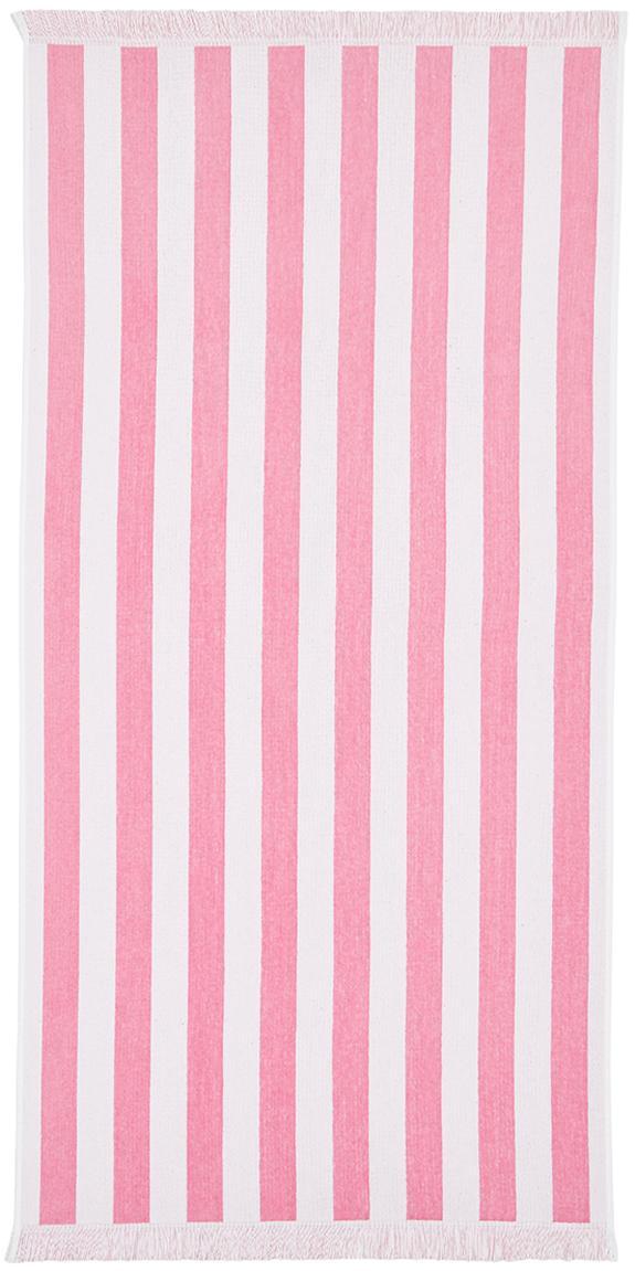 Ręcznik plażowy Mare, Bawełna Niska gramatura 380 g/m², Różowy, biały, S 80 x D 160 cm